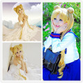 MCOSER Free Shipping 100cm Hot Long Pigtails Golden Sailor Moon Usagi Tsukino Cosplay Wig