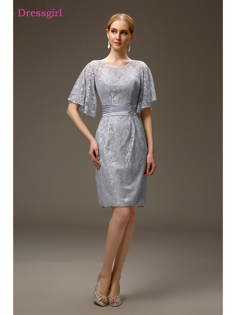Silver 2018 Mother Of The Bride Dresses Sheath Half Sleeves Lace Plus Size Short Elegant Groom