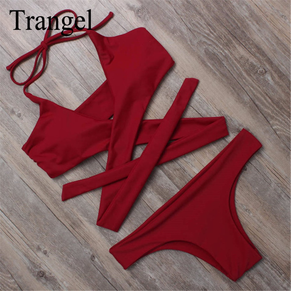 Trangel new 2017 bikini women sexy beach swimwear padded swimsuit brazilian bikini set maillot de bain biquini summer BF023 купить