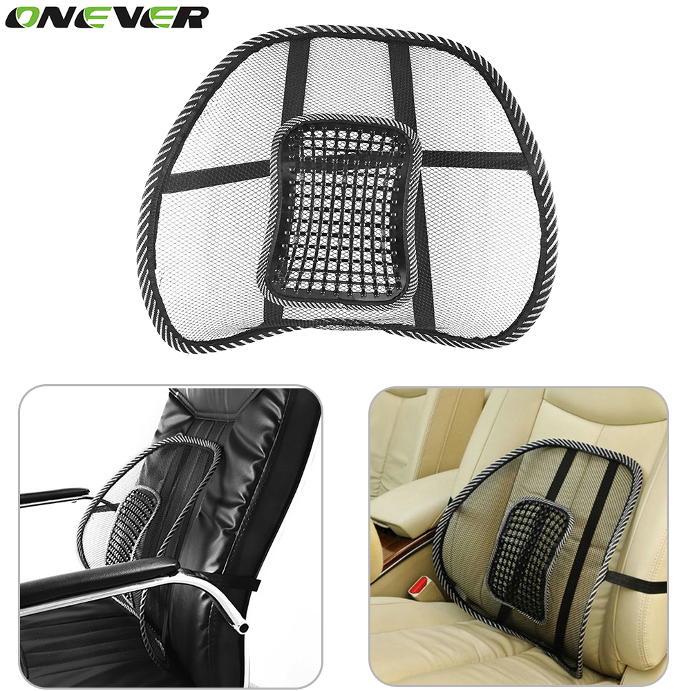 1pcs car seat mat cover black mesh back brace lumbar support massage cushion for office home