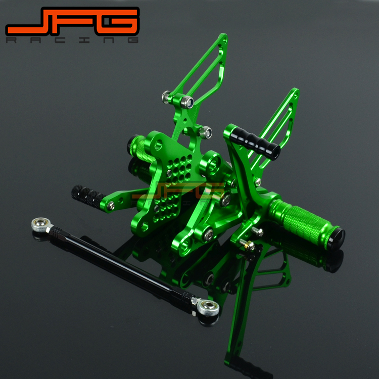 Motorcycle CNC Adjustable Foot Pegs Pedals Rest Rearset Footpegs For KAWASAKI ZX6R ZX-6R 2009 2010 2011 2012 2013 2014 2015 kemimoto motorcycle footrests for bmw s1000rr foot rest foot pegs 2009 2010 2011 2012 2013 2014 cnc adjustable rearset