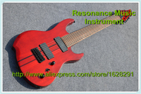 Custom Shop Electric Bass Guitar 8 Strings In Dark Red With Back Line