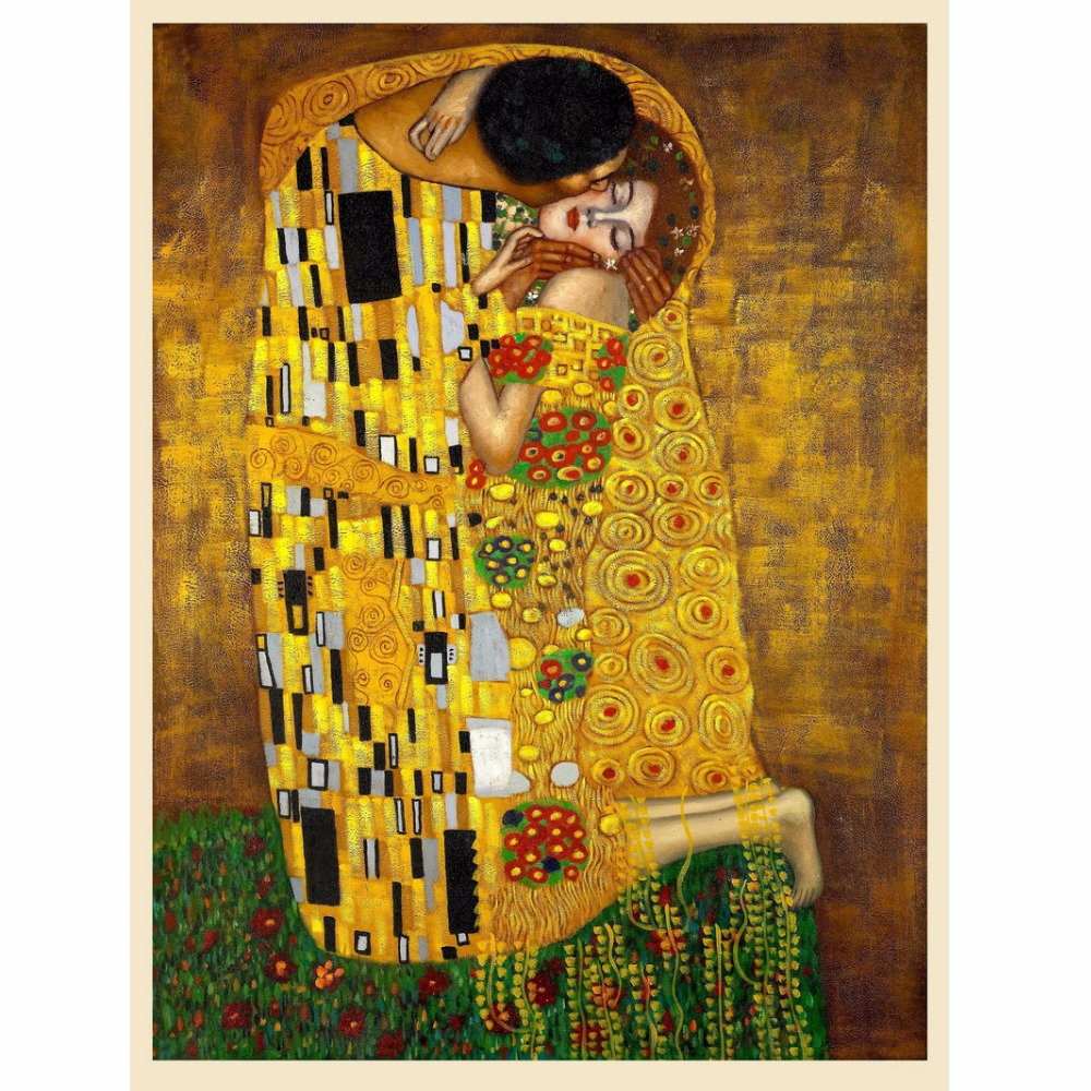 Original Famous Paint The Kiss Man and Beauty Wall Painting for ...