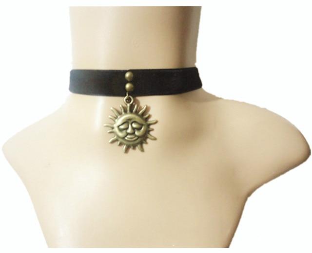 Vintage women black gothic necklace pendant leon the professional mathilda necklace the sun velvet choker ribbon