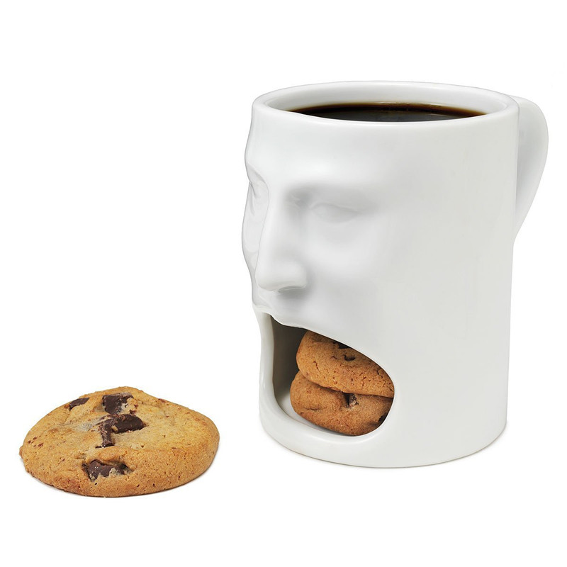 1PCS Free Shipping face Cookies White Cup ceramic cup holder Dunk cookies