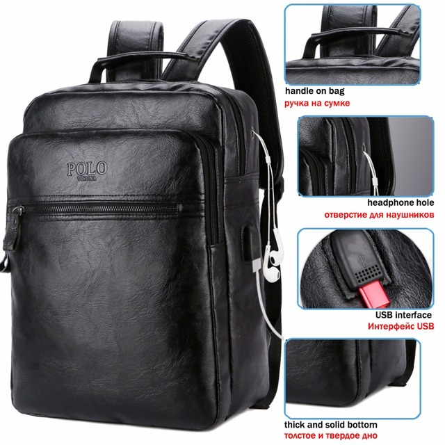 Leather Backpack With Headphone Hole S