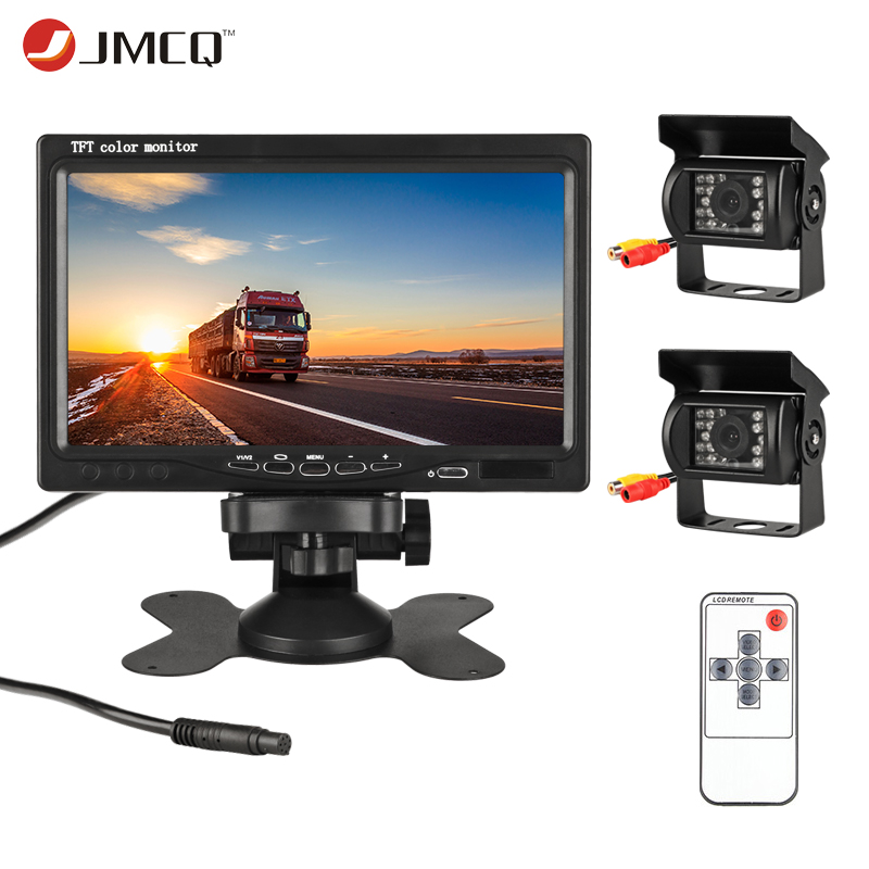 "JMCQ 7"" TFT LCD Wired Car Monitor HD Display Wired Reverse Camera Parking System For Car Rearview Monitors For truck with 2 lens(China)"