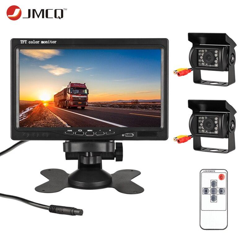 JMCQ 7 TFT LCD moniteur de voiture filaire affichage HD filaire caméra de recul système de stationnement pour voiture moniteurs de recul pour camion avec 2 lentilles