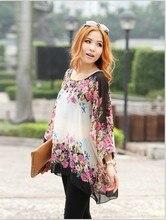 New 2017 Spring Summer lady Bohemian Style Dolman Sleeve Oversized Floral Chiffon Shirt Women Blouse