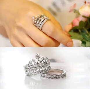 2Pcs/set silver plated crystal Rhinestone imperial crown circle wedding rings for women engaement ring