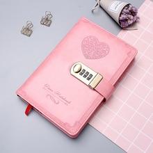 Diário b6 livro de senha com bloqueio retro notebook viagem escola meninas presente caderno diário planejador negócios