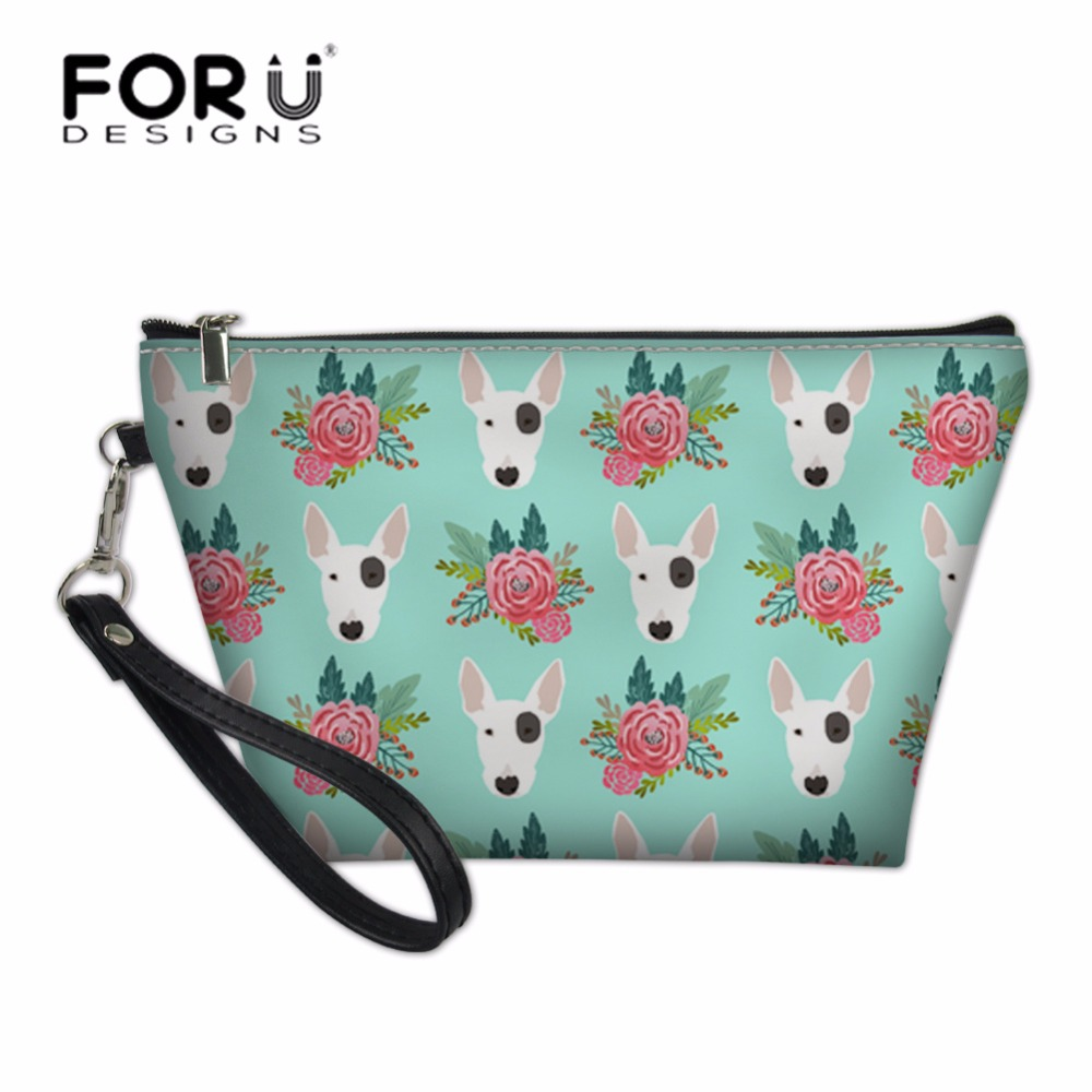 FORUDESIGNS Pitbull Dog Printing Travel Cosmetic Cases Women Make Up Pouch Toiletry Bags for Feminine Portable Wash Kit Bags in Cosmetic Bags Cases from Luggage Bags