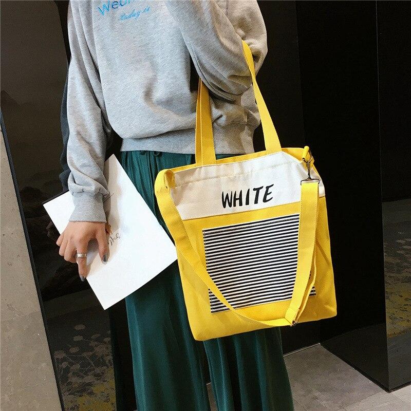 Patchwork Shopping Bag Single Shoulder Black Yellow Canvas Cloth Bag 2019 New Zipper Reusable Eco Shopping Bag bolsas de tela in Shopping Bags from Luggage Bags