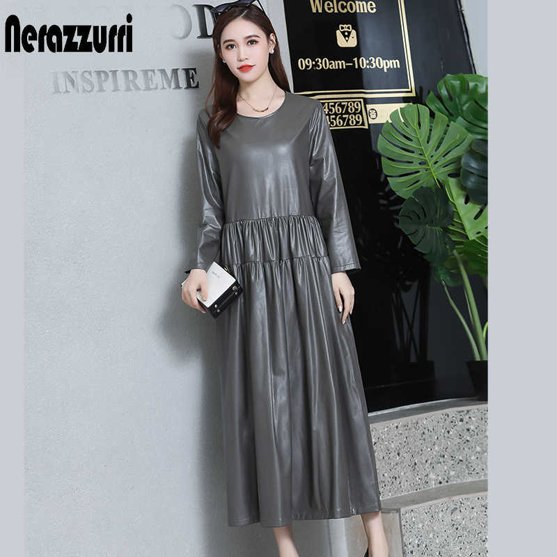 nerazzurrri pu leather dress women red gray black plus size dress 5xl 6xl 7xl long sleeve elegant pleated maxi dress fall 2019