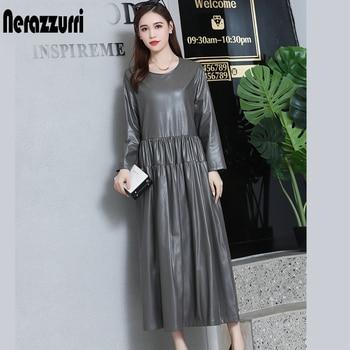 nerazzurrri pu leather dress women red gray black plus size dress 5xl 6xl 7xl long sleeve elegant pleated maxi dress fall 2019