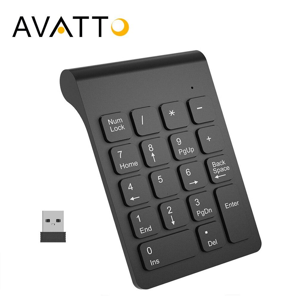 [AVATTO] tamaño pequeño 2,4 GHz teclado numérico inalámbrico teclado numérico 18 teclas teclado Digital para la contabilidad Teller portátil cuaderno de tabletas