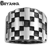 Bryanna Vintage Brand 316L Stainless Steel man round ring anillo acero inoxidable retro Jewelry Black Punk men rings BYNR4156