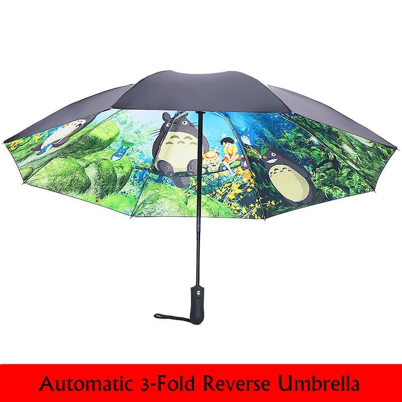 Double Layer Inverted Inverted Umbrella Is Light And Sturdy Pattern Popcorn On Yellow Closeup Reverse Umbrella And Windproof Umbrella Edge Night Refl