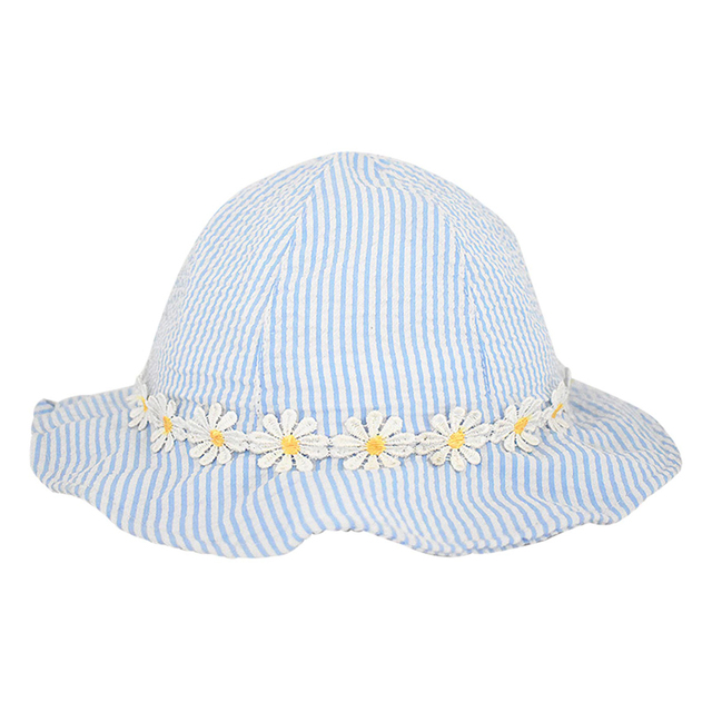 628f3a94004 Toddler Kids Sun Protection Hats Little Baby Girls Cute Stripes Bucket Hat  with Wide Brim Children Summer Outdoor Casual Caps