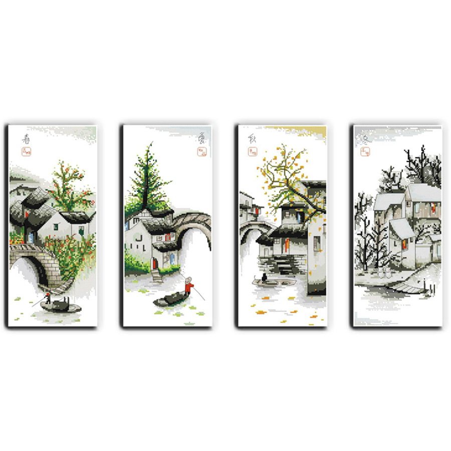 Four Seasons In Water Village Paintings On Canvas DMC Counted Cross Stitch Kits For Embroidery 11CT Home Decor Needlework Sets
