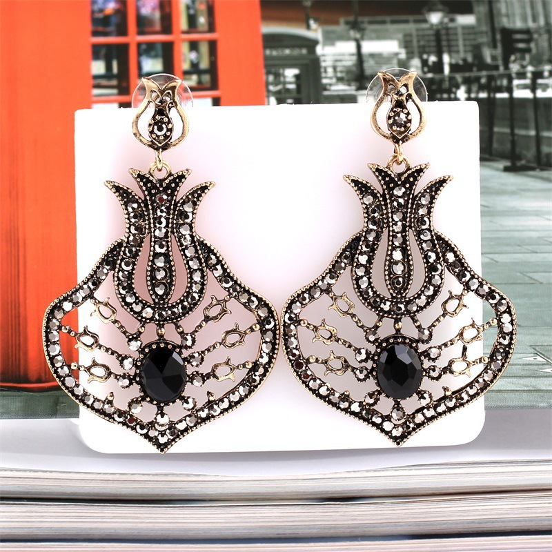 <font><b>News</b></font> Vintage Silver Color Long Earrings for Women Earrings Colors Hollow Earings Fashion Jewelry Black Crystal Stone Accessories image