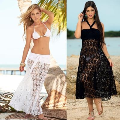 02390fb53c New 2016 Fashion Women Beach Wrap Dress, Sexy Ladies White / Black Lace  Crochet Swimwear Beach Skirts Swim Cover Up Beachwear