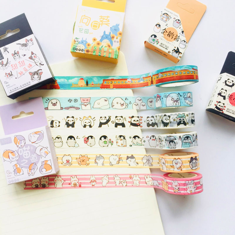 1 Roll 1.5cm*7M Cute Animals Penguin Cat Panda Otter Rabbit Masking Washi Tape Album Scrapbooking Decor Stick Label