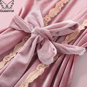 Image 5 - Queenral 4PCS חורף פיג מה סטים לנשים הלבשת הלבשה תחתונה פיג זהב קטיפה חם פיג מות סקסי תחרה חלוק פיג מה Nightwear
