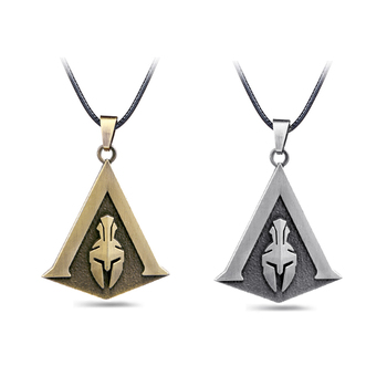 Assassin's Creed Odyssey Necklace Assassins Logo Metal Pendant Rope Chain Choker Necklaces Toy Men Charm Gifts Game Jewelry