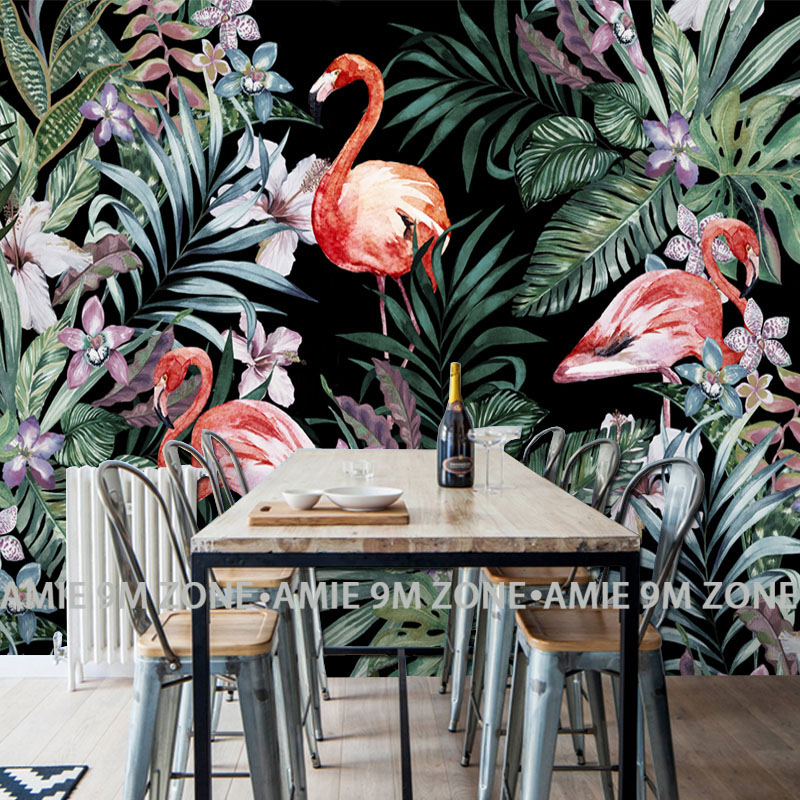 Tuya Art kitchen room wallpapers palm leaf flamingo picture wallpaper restaurant mural wallpapers wall decor beibehang modern luxury circle design wallpaper 3d stereoscopic mural wallpapers non woven home decor wallpapers flocking wa