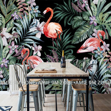 цены на wholesale tropical rainforest and flamingo mural wallpaper for living room kitchen decoration restaurant wallpaper free shipping  в интернет-магазинах
