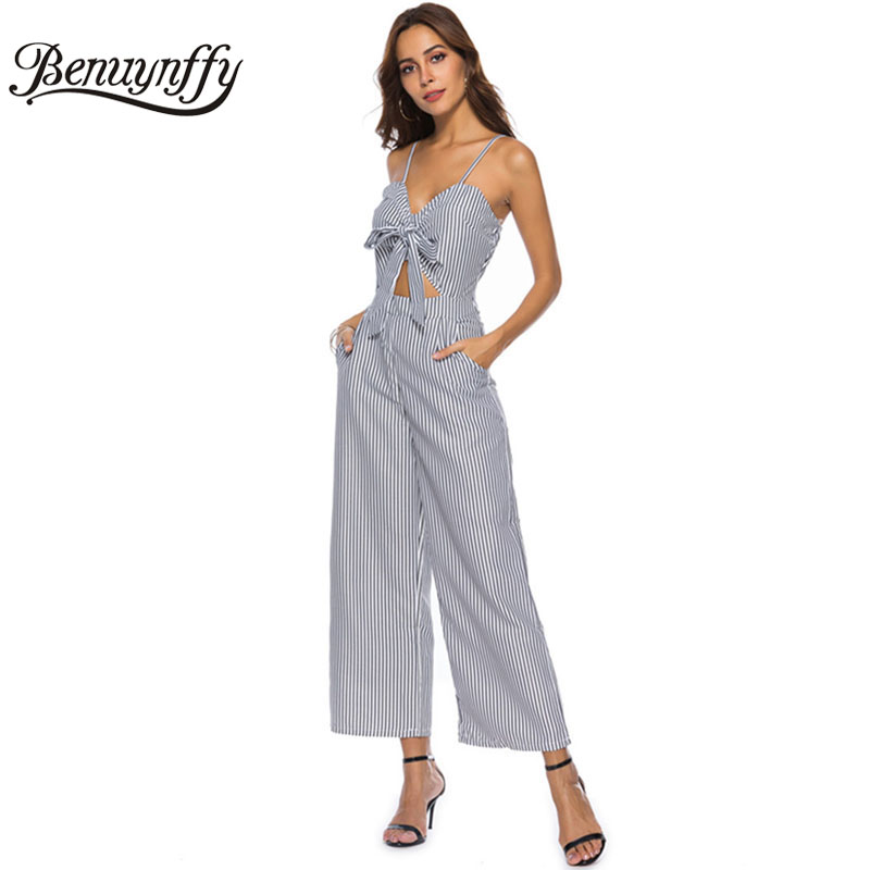 0673dd909fe Benuynffy Hollow out Bow Striped Jumpsuit female One Piece V neck Spaghetti  strap Women Summer Casual Long Wide Leg Jumpsuit-in Jumpsuits from Women s  ...