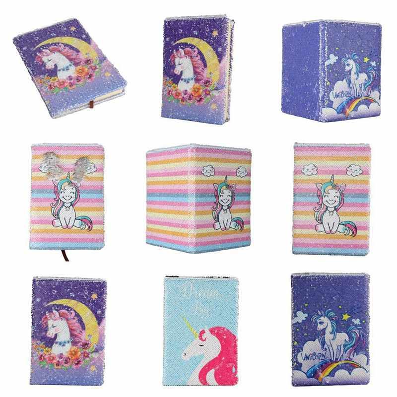 חמוד Unicorn נצנצים כתב עת בת ים נצנצים מחברת הפיך נצנצים כתב עת Flip נצנצים לילדים בנות