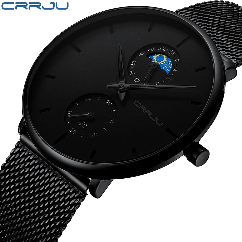 CRRJU Fashion Watches Mens Full Steel Dress Watches Luxury Quartz Watch Men Casual Mesh Waterproof Sport Watch erkek kol saati