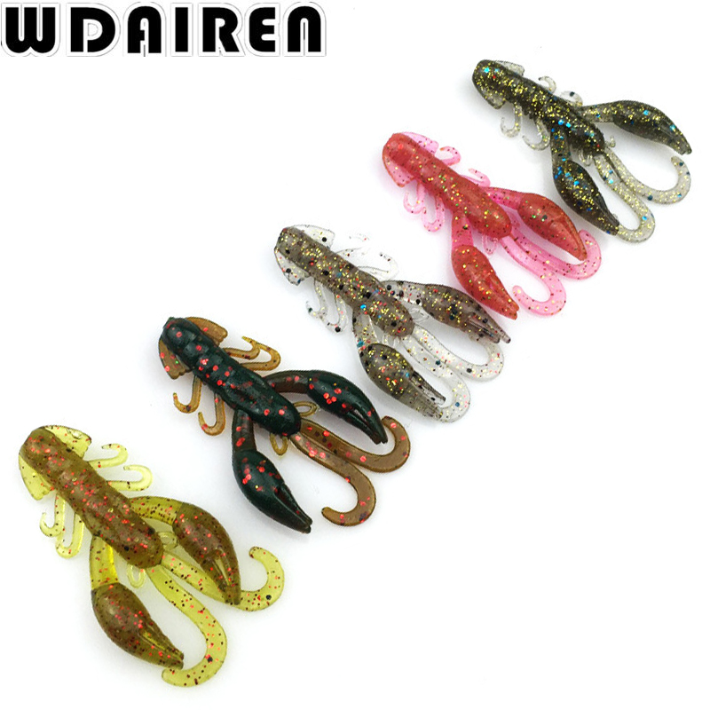 5Pcs 5cm 2g Soft Worm Shrimp Sea Fishing Lure Salt smell Tackle Jig Wobbler Swivel Bait Practical Fishing Lures WD-343 lifelike shrimp style soft plastic fishing bait red 5 pcs
