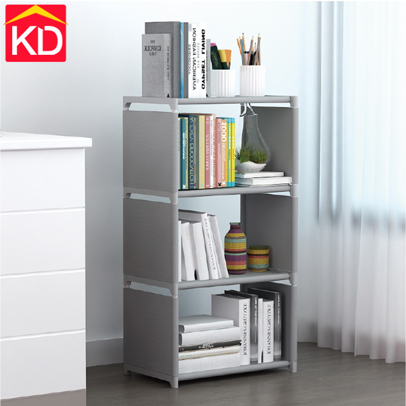 Kaidi Book Storage 3 Layers Simple Modern Student Children Bookshelf Bookcase With Rear Cloth Simple Storage Cabinet