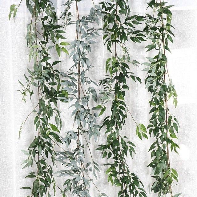 Plastic Artificial Flower Rattan string Artificial Ivy green Leaf Garland Plants Vine Fake Foliage Flowers Home Decor 2