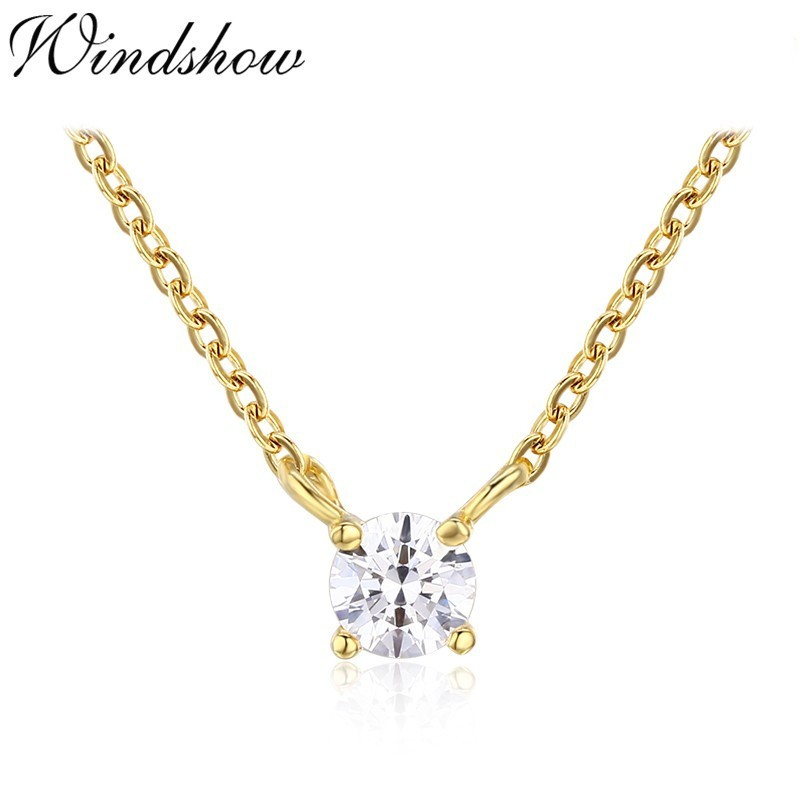 Women Girl Choker Necklace Clear Cubic Zirconia CZ Solitaire Pendant Chain