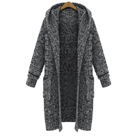 2019 large size women's autumn and winter Europe and the new long thick knit loose hooded sweater coat women sweater cardigan