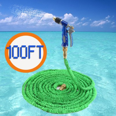 100FT Expandable Retractable Garden Hose Water Pipe with Copper Spray Gun free shipping