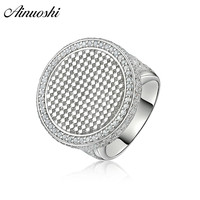 AINOUSHI Exaggrate 925 Sterling Silver Wedding Engagement Big Round Rings Male Silver Anniversary Party Rings pero llama Jewelry