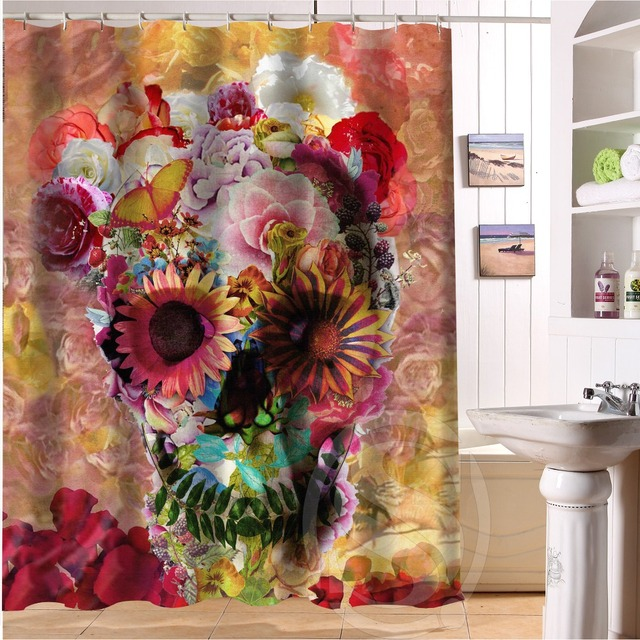 aliexpress : buy flowers sugar skull shower curtains custom