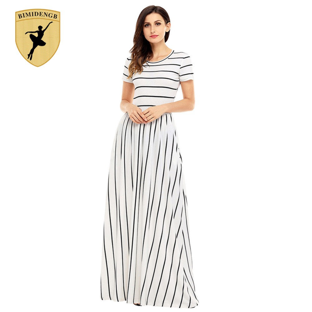 BIMIDENGB 2017 Hot New Women Bohemian Dresses White Black Wide Dresses long loose Party Casual Women Dresses macacao feminino