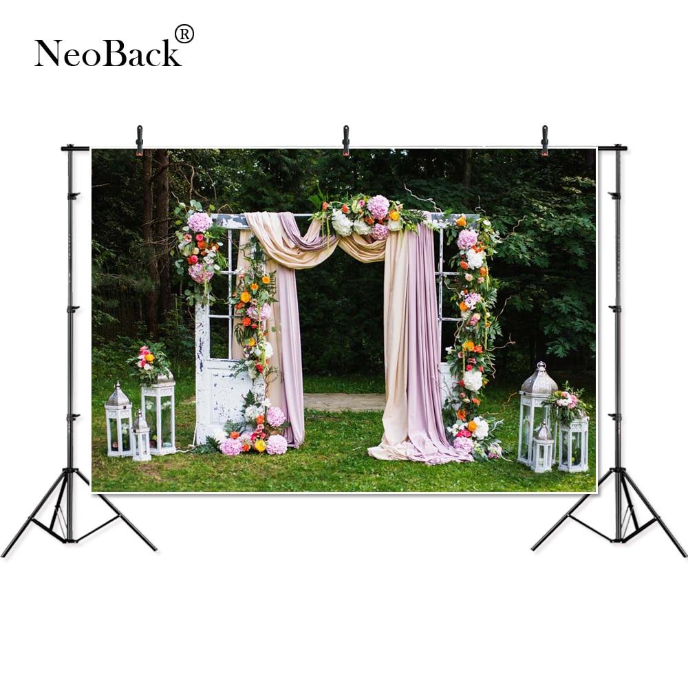 Garden Wedding Ceremony: NeoBack Photography Backdrops Wedding Party Garden View