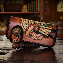 HK OLG.YAT Cowhide handmade wallet mens purse Vegetable tanned leather wallets Hand-carved Indian tribes long hasp mens handbags