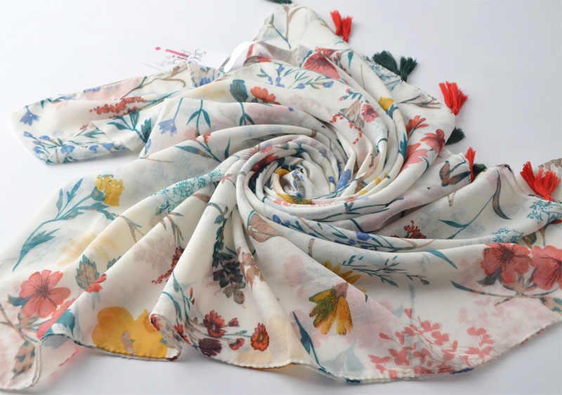 Flor do verão lenços, hijab floral de algodão, viscose borla cachecol em alta qualidade, envoltório da cabeça, xales e lenços, hijab muçulmano, hijab bandana
