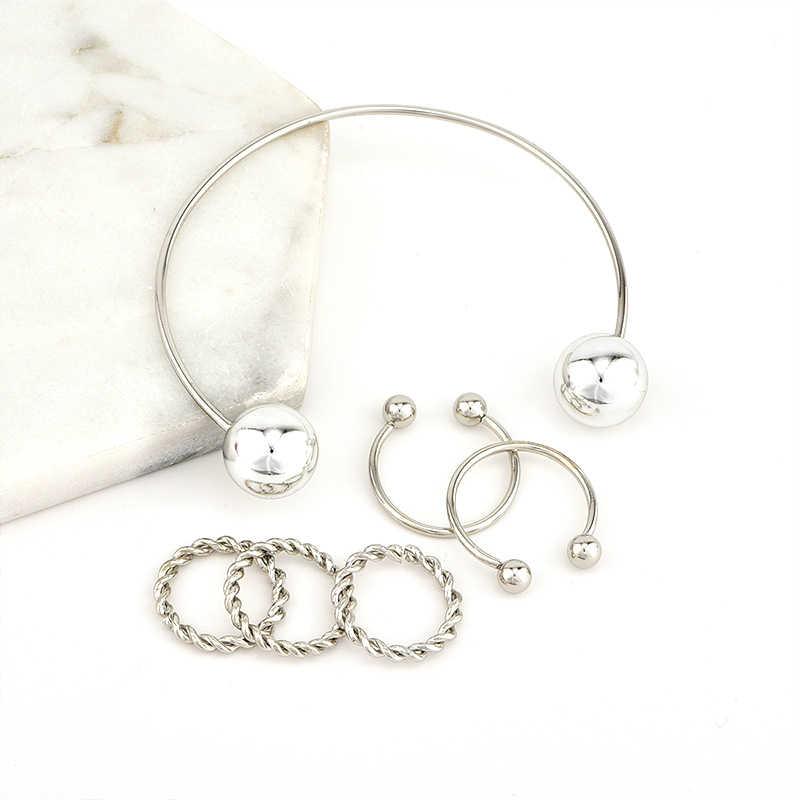 6 Pz/set di Modo Twist Bead Regolabile Anello di Apertura Del Braccialetto Delle Donne di Personalità Argento Misto Anello di Fascino Accessori di Abbigliamento