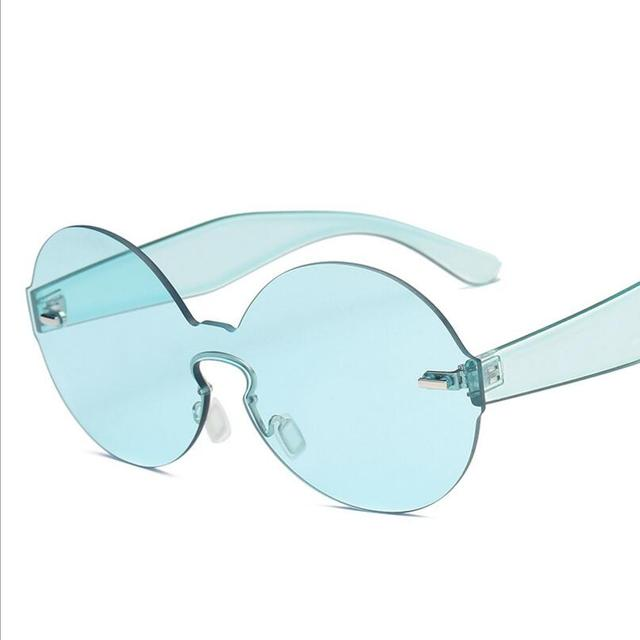 2c54f1474a5679 2017 Women Round Frameless One Piece Candy Color Sunglasses Unisex Sun  Glass Female Oculos Mme Lunette