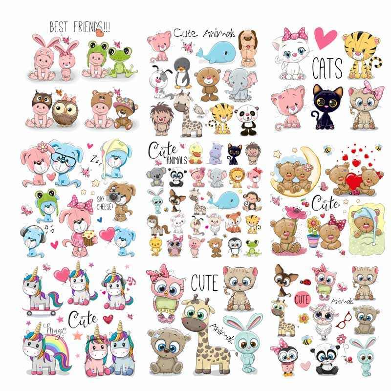 ZOTOONE Iron on Cute Animal Patches for Kids Clothes DIY T-shirt Applique Heat Transfer Vinyl Cat Dog Unicorn Patch Stickers