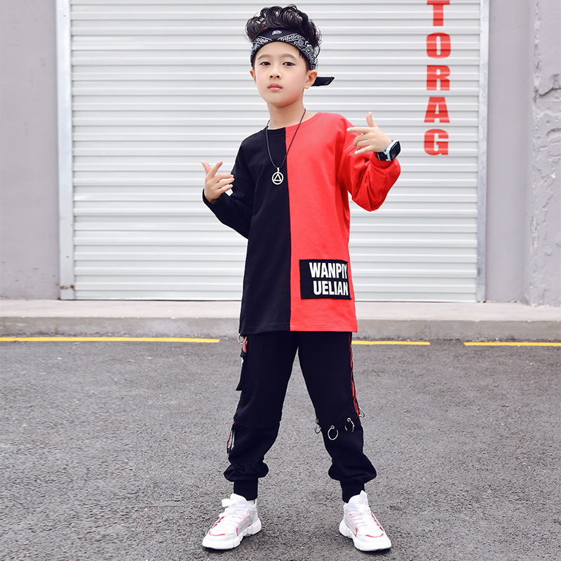 Image 2 - Children Ballroom Dance Clothes for Girls Boys Performance Show Short T Shirt Jogger Pants Jazz Kid Hip Hop Dancing Costume-in Ballroom from Novelty & Special Use